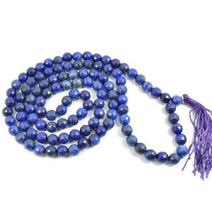 Lapis Lazuli 8 mm Diamond Cut Mala & Necklace