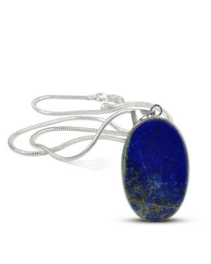 AAA Quality Lapis Lazuli Oval Pendant With Chain
