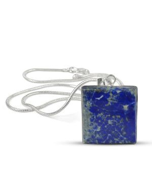 AAA Quality Lapis Lazuli Square Pendant With Chain