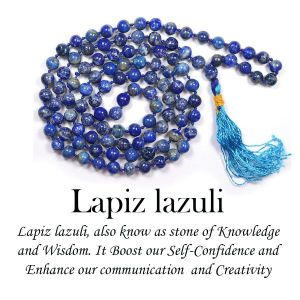 Lapis Lazuli 6 mm Round Beads Mala & Necklace ( 108 Beads, 26 Inch  Approx)