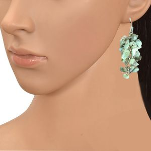 Larimar Crystal Earrings Natural Chip Beads Earrings for Women, Girls
