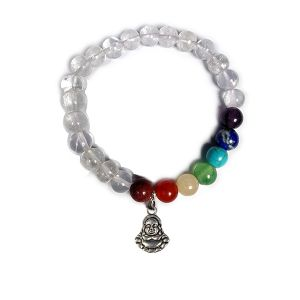 Clear Quartz Bracelet with Hanging Laughing Buddha Charm 8 mm Round Beads Bracelet