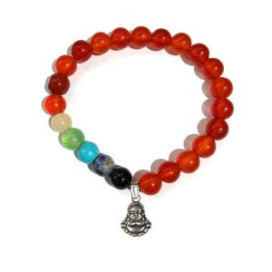 Carnelian Bracelet with Hanging Laughing Buddha Charm 8 mm Round Beads Bracelet