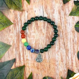 Green Aventurine Bracelet with Hanging Laughing Buddha Charm 8 mm Round Beads Bracelet