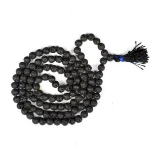 Lava 8 mm Round Bead Mala & Necklace (108 Beads & 32 Inch Approx)