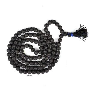 Lava 6 mm Round Beads Mala & Necklace ( 108 Beads, 26 Inch  Approx)