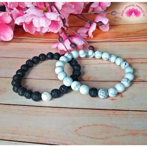 Combo  Lava With Howlite Bracelet