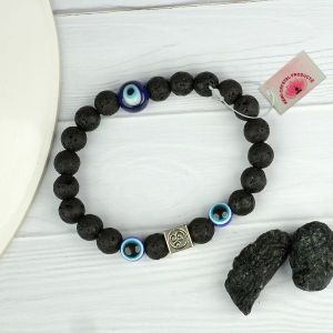 Natural Lava with Evil Eye 8 mm Beads Bracelet
