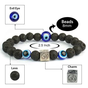 Lava  with Evil Eye 8 mm Bead Charm Bracelet