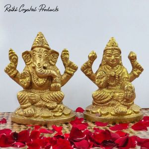 Brass Laxmi Ganesh Idol/Murti  Idol for Home Puja Decoration and Diwal (Pair Weight - 200 Gram Height 2 Inch Approx)