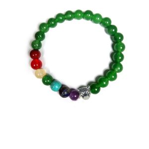 Green Aventurine Bracelet with Hanging Leopard Face Charm 8 mm Round Beads Bracelet