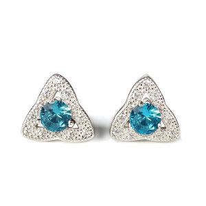 92.5 Sterling Silver Stud Earring Light Blue Crystal Earrings for Women and Girls