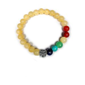 Golden Quartz with 7 Chakra Loin Charm Hanging Bracelet