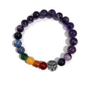 Amethyst Bracelet with Hanging Loin Charm 8 mm Round Beads Bracelet