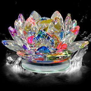 Vastu - Fengshui Transparent Crystal Lotus for Positive Energy A Gift Item for Good Luck & Prosperity