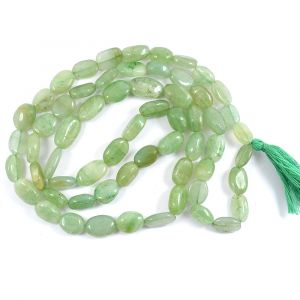 Green Jade Oval Bead Mala / Necklace