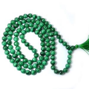 Malachite 8 mm Round Bead Mala & Necklace (108 Beads & 32 Inch Approx)