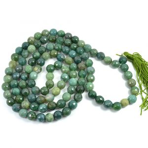 Moss Agate DC 108 Round Bead 8 MM  Mala/Necklace