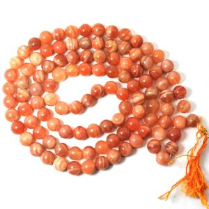 Peach Moonstone 8 mm Round Bead Mala & Necklace (108 Beads & 32 Inch Approx)