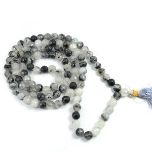 Rutile Quartz DC 108 Round Bead 8 MM  Mala/Necklace