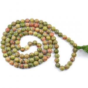 Unakite 8 mm Round Bead Mala & Necklace (108 Beads & 32 Inch Approx)