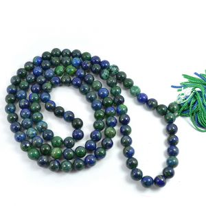 Azurite 8 mm Round Bead Mala & Necklace (108 Beads & 32 Inch Approx)