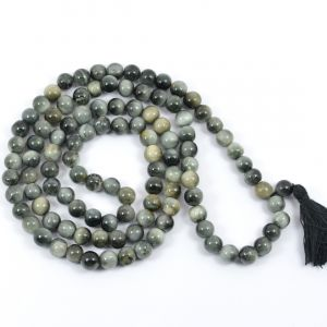 Cats's Eye 8 mm Round Bead Mala & Necklace (108 Beads & 32 Inch Approx)