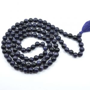 Gold Stone Blue 8 mm Round Bead Mala & Necklace (108 Beads & 32 Inch Approx)
