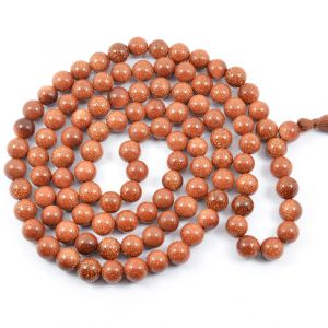 Gold Stone Brown 8 mm Round Bead Mala & Necklace (108 Beads & 32 Inch Approx)