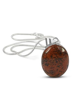 AAA Quality Mahogany Obsidian Oval Pendant With Chain