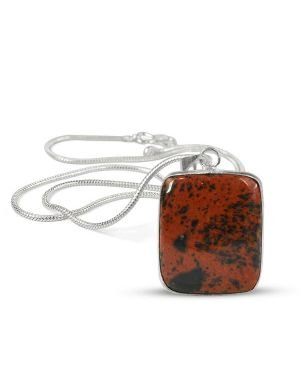 AAA Quality Mahogany Obsidian Square Pendant With Chain