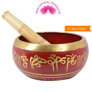 Red Singing Bowl 4 Inch with Wooden Stick