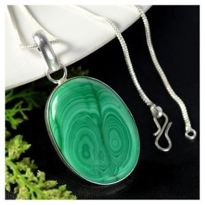 Malachite Oval Shape Pendant with Metal Silver Polished Chain