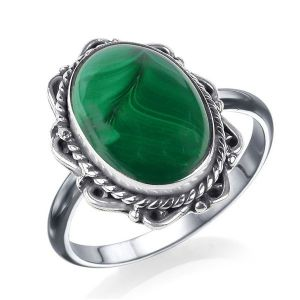92.5 Silver Malachite Gemstone Adjustable Ring