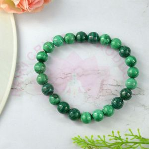 Malachite 8 mm Round Bead Bracelet