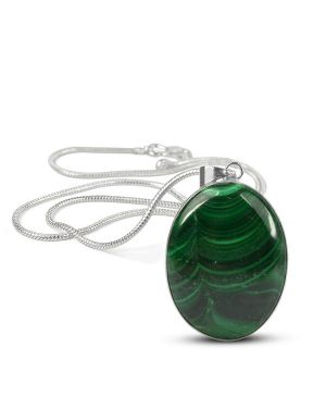 AAA Quality Malachite Oval Pendant With Chain