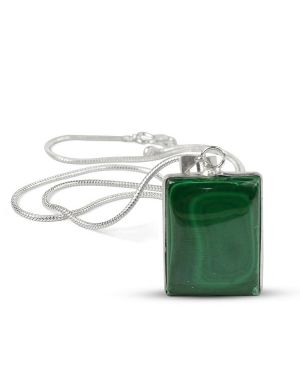 AAA Quality Malachite Square Pendant With Silver Polished Metal Chain