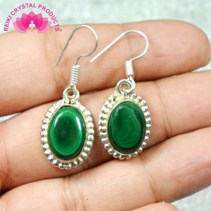 Malachite Earring Crystal / Stone Oval Shape