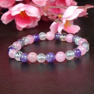 Rose Quartz, Amethyst, Clear Quartz Combination 8 mm Faceted Bead Bracelet