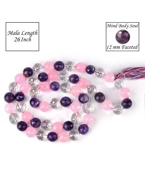 Mind Body Soul Amethyst, Rose Quartz, Clear Quartz Combination Crystal Stone 12 mm Faceted Bead Mala