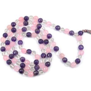 Rose+Amethyst+CQ 8 mm Diamond Cut Mala & Necklace