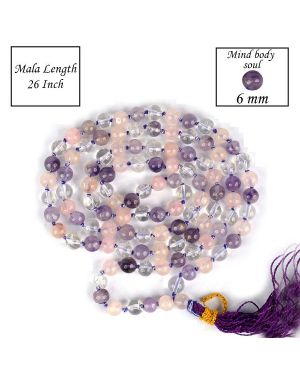 Mind Body Soul 8 mm Crystal Stone Round Beads Bracelet