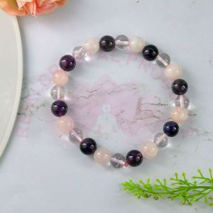 Mind Body Soul Amethyst Rose Quartz Clear Quartz 8 mm Round Bead Bracelet