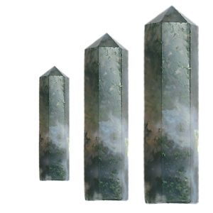 Moss Agate Crystal Pencil / Obelisks
