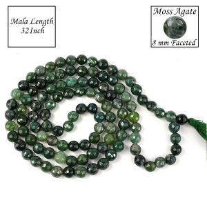 Moss Agate 8 mm Faceted Bead Mala