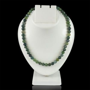 Moss Agate 8 mm Round Bead Mala & Necklace (108 Beads & 32 Inch Approx)