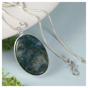 Moss Agate Oval Shape Pendant with Chain