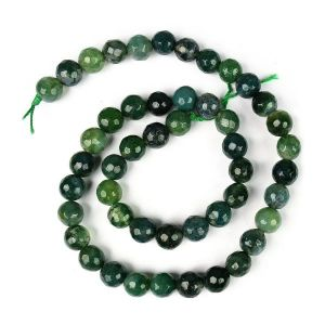 Moss Agate 8 mm Faceted Beads For Jewelery Making Bracelet, Necklace / Mala