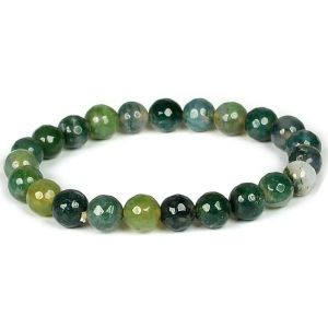 Moss Agate 8 mm Faceted Bracelet