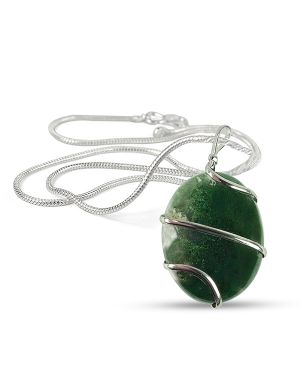 Moss Agate Oval Wire Wrapped Pendant with Silver Polished Chain